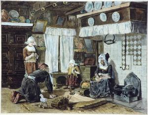 Volendammer gezin in interieur