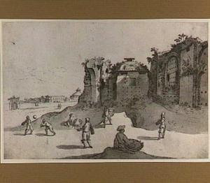 Pelota-spelers in de thermen van Diocletianus; op de achtergrond de S. Bernardino en de muur van de Horti Bellaiani