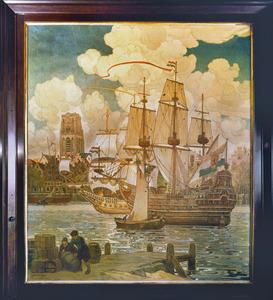 Zeilschepen bij havenkade
