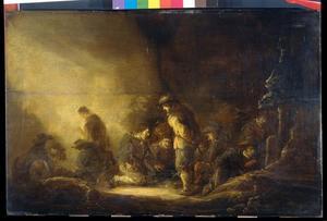 Dobbelende soldaten in een interieur