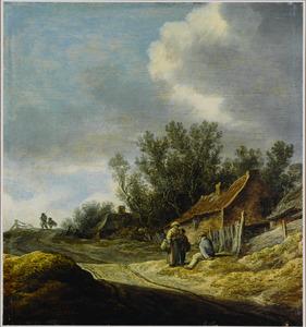Duinlandschap met figuren pratend langs een landweg