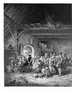Interieur met vrolijke boeren