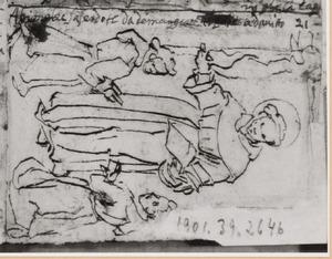 H. Antonius van Padua en twee knielende monniken
