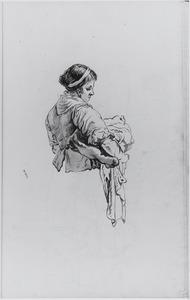 Vrouw met wasgoed, ten halven lijve; gezien van opzij