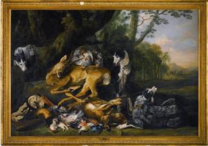Jachtbuit bewaakt door die honden