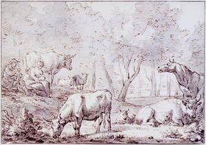 Herders met vee in boslandschap