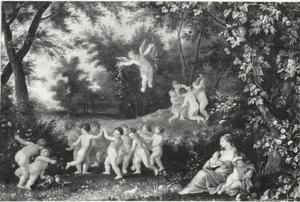 Dansende en musicerende putti in een boslandschap
