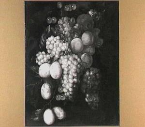 Vruchtentros, (het voorbeeld) fragment van een cartouche-vruchtenstilleven