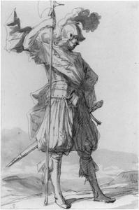 Staande krijger met een hellebaard in zijn rechterhand