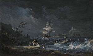 Schipbreuk bij nacht aan een kust