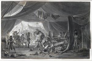 Soldaten vechtend in een tentenkamp