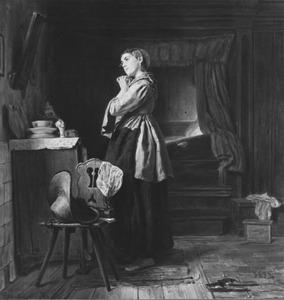 Interieur met staande vrouw voor een spiegel