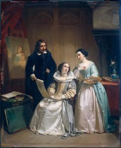 Gerard van Honthorst toont aan Amalia van Solms de tekeningen van zijn leerlinge Louise van Bohemen (Louise Hollandine)