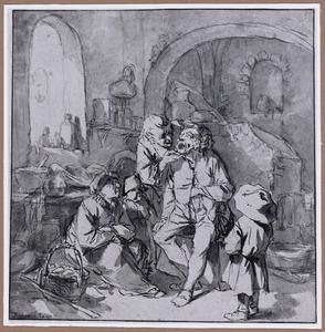 Tandarts met patient in interieur