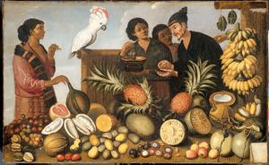 Oost-Indisch marktstalletje met rechts onder de namen van de vruchten