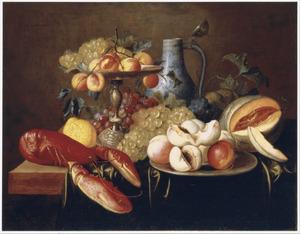 Stilleven met vruchten en een kreeft