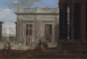 Figuren op de binnenplaats van een paleis