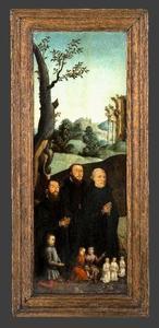 Portret van Pieter Adriaensz. Karre (?-1550) met zijn zonen en verwanten (achterzijde: familiewapen)