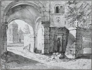 Gezicht op de kloosterhof bij St. Gereon, Keulen