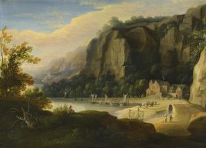 Baai tussen de rotsen met vissers op het strand; op de voorgrond een tekenaar