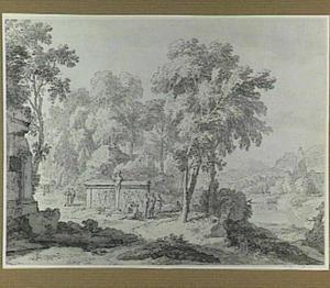 Arcadisch landschap met figuren bij een herme en klassieke graftombe