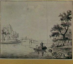 Rivierlandschap met vissersboot en houten brug