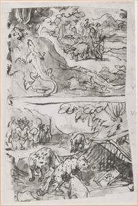 Schetsboekblaadje met twee jachtvoorstellingen