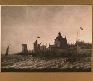 Gezicht op de Riedijkse Poort te Dordrecht