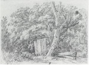 Boslandschap met hut en wandelaar