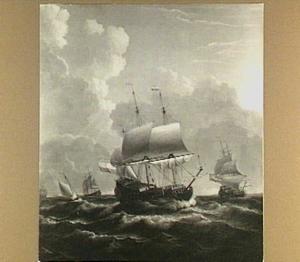 Pinas en andere zeilschepen op volle zee