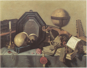 Vanitasstilleven met een schedel voor een spiegel, een globe, muziekinstrumenten en andere objecten