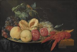 Stilleven met fruit en gekookte rivierkreeft