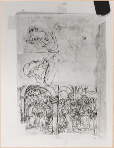 Schetsboekblaadje met vier voorstellingen