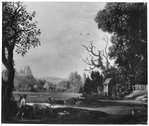 Landschap met veedrijver, in de verte een dorp