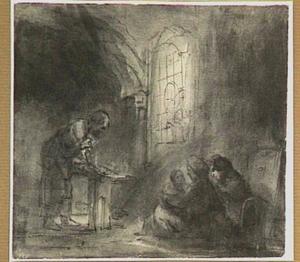 De Heilige Familie in een timmermanswerkplaats