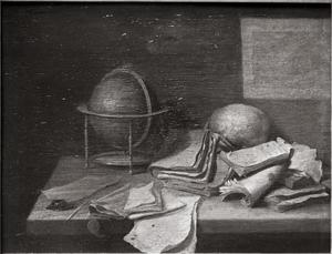 Vanitasstilleven met een globe en een schedel