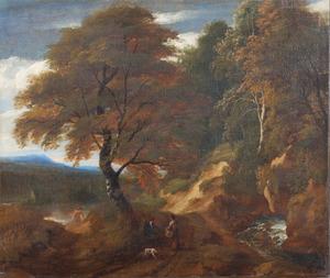 Boslandschap met converserende figuren op een zandweg