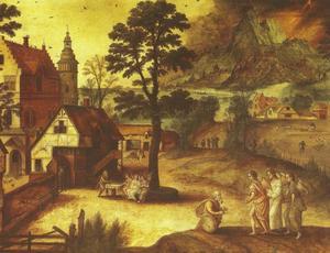Landschap met Abraham knielend voor de drie engelen (Genesis 18:2)