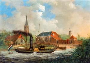 Raderstoomboot op de IJssel bij Doesburg
