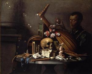 Vanitasstilleven op een ronde tafel en een moorse jongen met een portretje van de schilder in zijn hand
