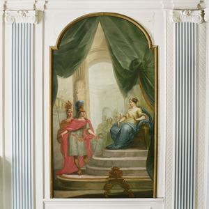 Aeneas en Achates voor de troon van Dido