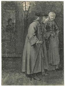 Een oude man, mogelijk de kunsthandelaar Jacob Carpi, op straat begeleid door een vrouw