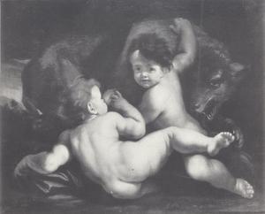 Romulus en Remus worden gezoogd door een wolf