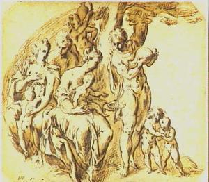 Vrouwen met kinderen en jongemannen die hen water schenken (scene uit het vehaal van Mozes die water uit de rots slaat?)