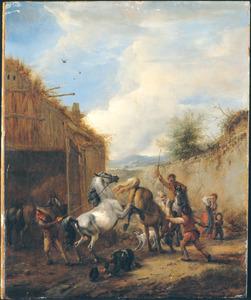 Steigerende en bokkende paarden voor een open staldeur