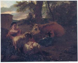 Landschap met een rustende herderin en haar kudde
