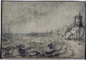 Kustgezicht met gebouwtje op de rotsen, schepen in de verte