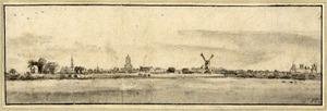 Gezicht op de stad Buren vanuit het noordoosten, met rechts het huis Buren