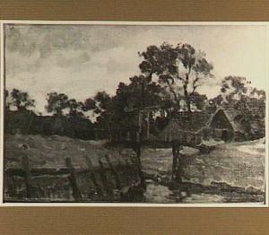Landschap met gezicht op een brug