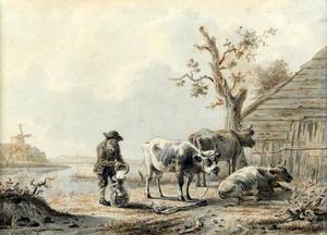 Boer met drie koeien in een landschap